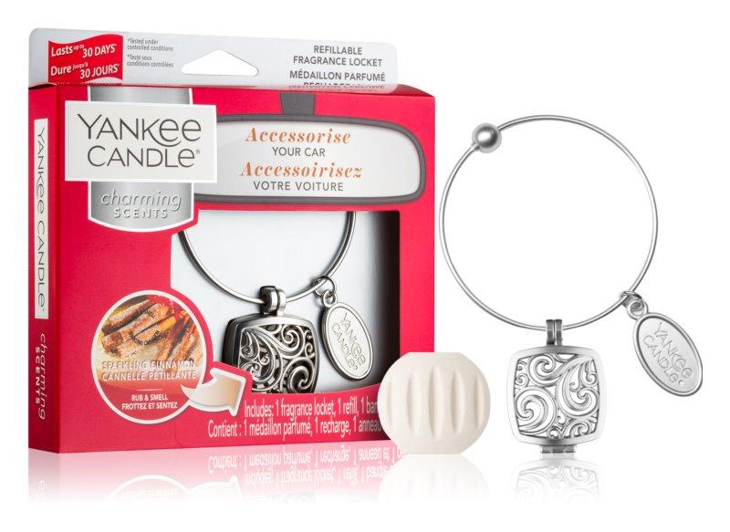 Yankee Candle Sparkling Cinnamon illat autóba   medál + utántöltő (Square)