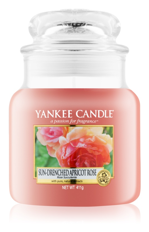 Yankee Candle Sun-Drenched Apricot Rose vonná svíčka 411 g Classic střední