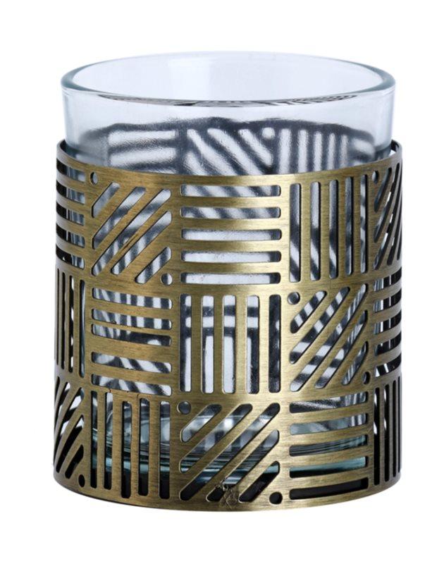 Yankee Candle Crosshatch Brass sklenený svietnik na votívnu sviečku