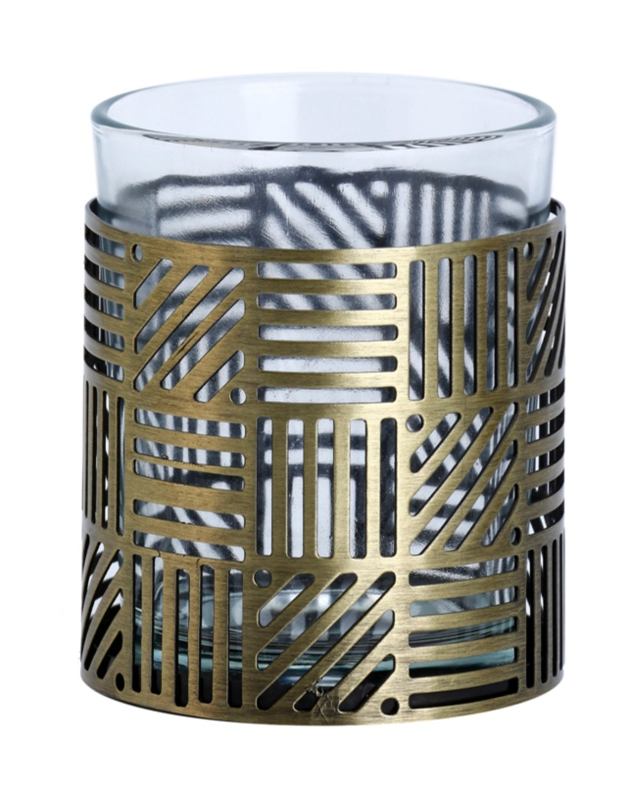Yankee Candle Crosshatch Brass Suport lumânare pahar