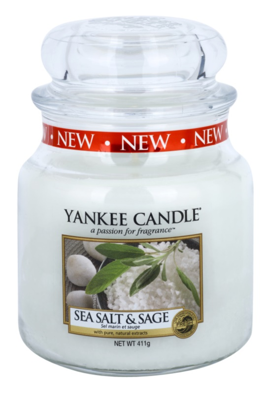 Yankee Candle Sea Salt & Sage illatos gyertya  411 g Classic közepes méret