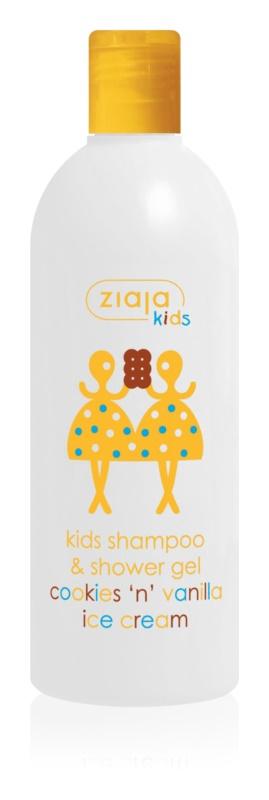 Ziaja Kids Cookies 'n' Vanilla Ice Cream champô e gel de banho 2 em 1 para crianças