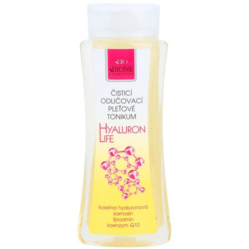Bione Cosmetics Hyaluron Life тоник за почистване на лице и грим с хиалуронова киселина 255 мл.