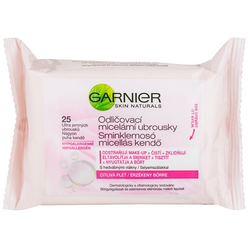 Garnier Skin Naturals мицеларни кърпички за почистване на грим за чувствителна кожа на лицето 25 бр.