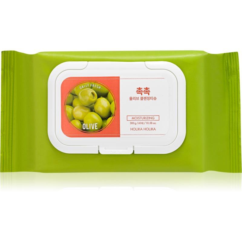 Holika Holika Daily Fresh Olive кърпички за почистване на устойчив и водоустойчив грим 60 бр.