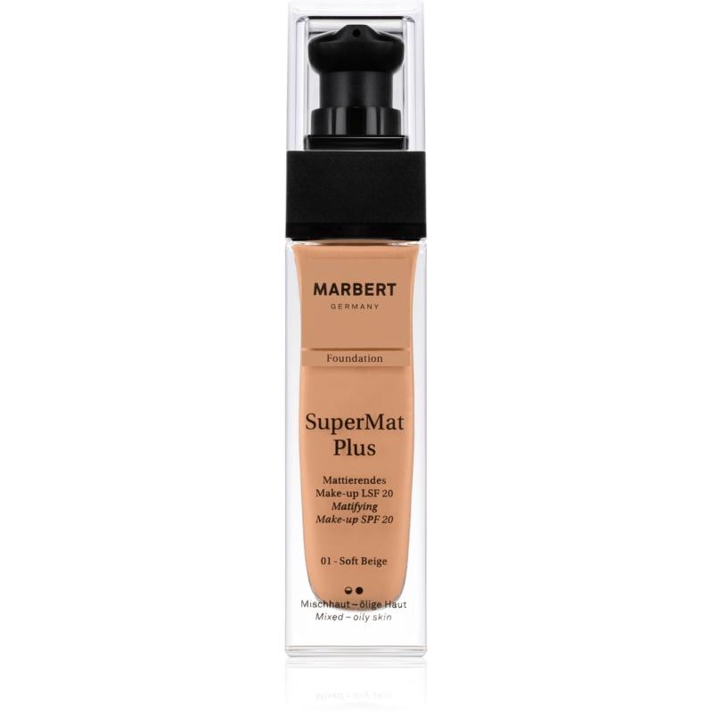 Marbert SuperMatPlus Mattifying Foundation SPF 20 Shade 01 Soft Beige 30 ml thumbnail