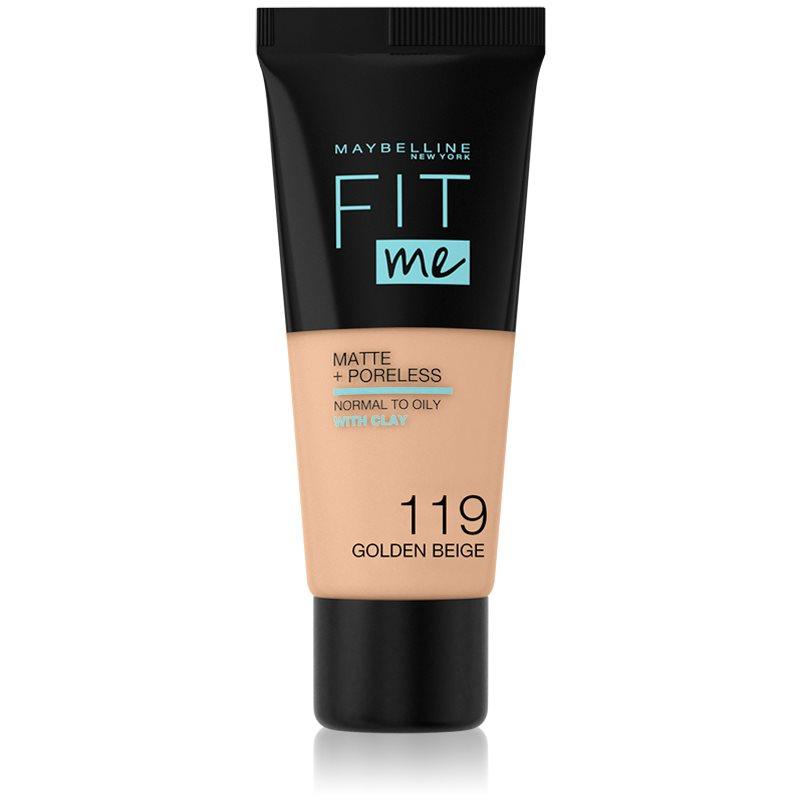 Maybelline Fit Me! Matte+Poreless pórusösszehúzó és mattító alapozó normál és olajos bőrre árnyalat 119 Golden Beige 30 ml