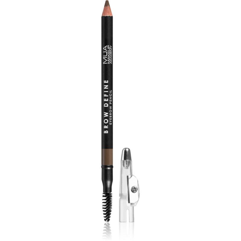 MUA Makeup Academy Brow Define dlouhotrvající tužka na obočí s kartáčkem odstín Mid Brown 1,2 g