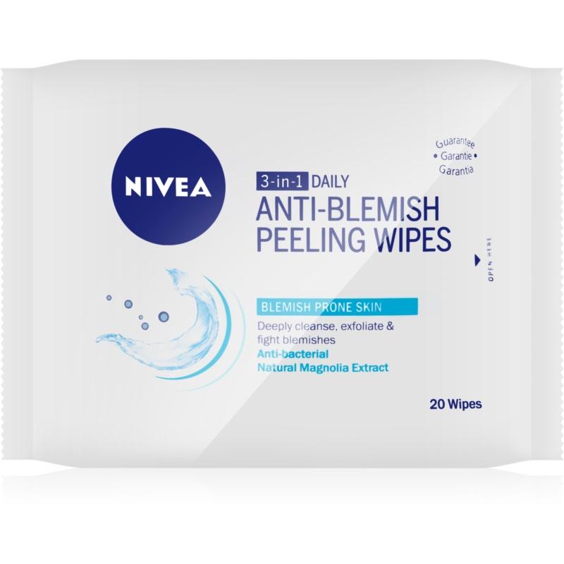 Nivea Visage Pure Effect mélyen tisztító peeling törlőkendők 3in1