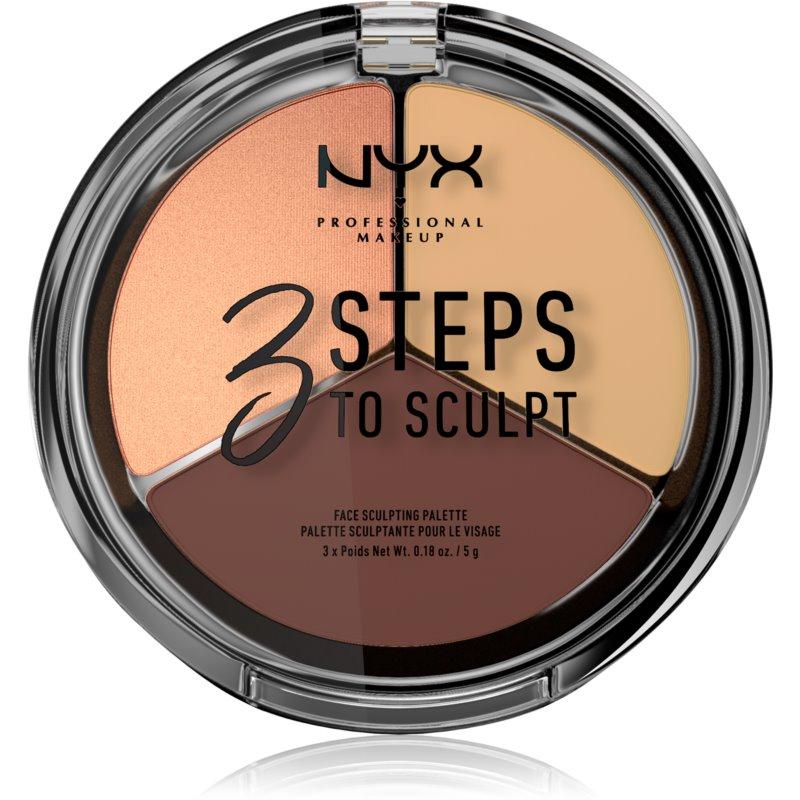 NYX Professional Makeup 3 Steps To Sculpt Patela pentru conturul fetei culoare 02 Light 15 g thumbnail