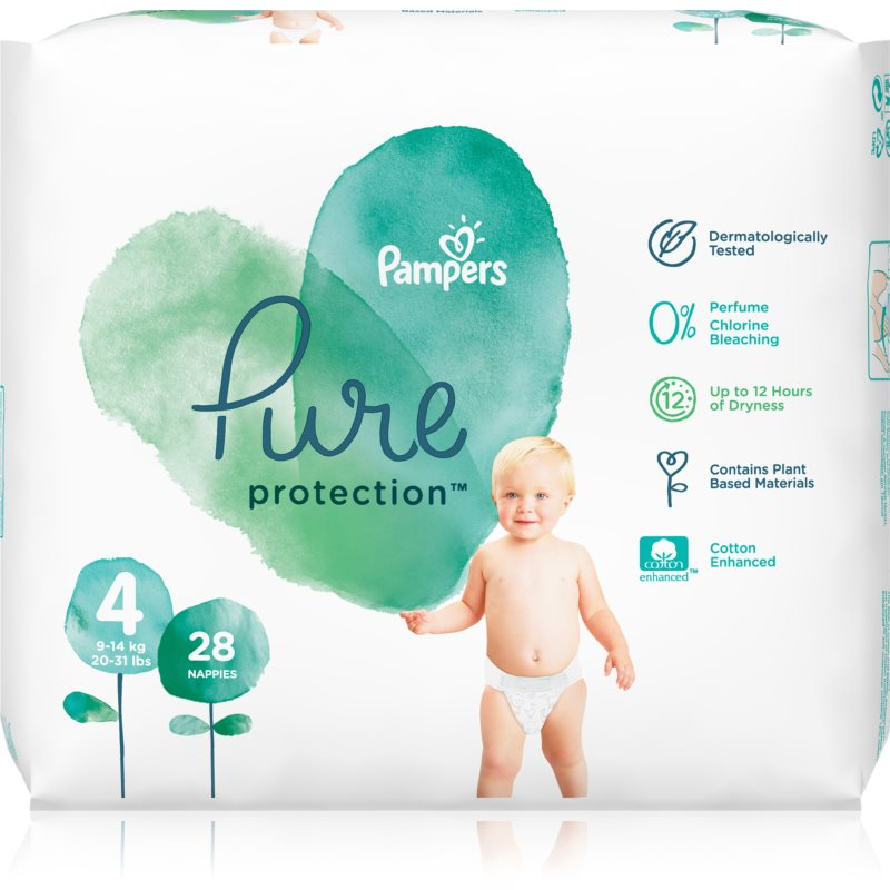 Pampers Pure Protection Size 4 plienky (9-14 kg) 28 ks