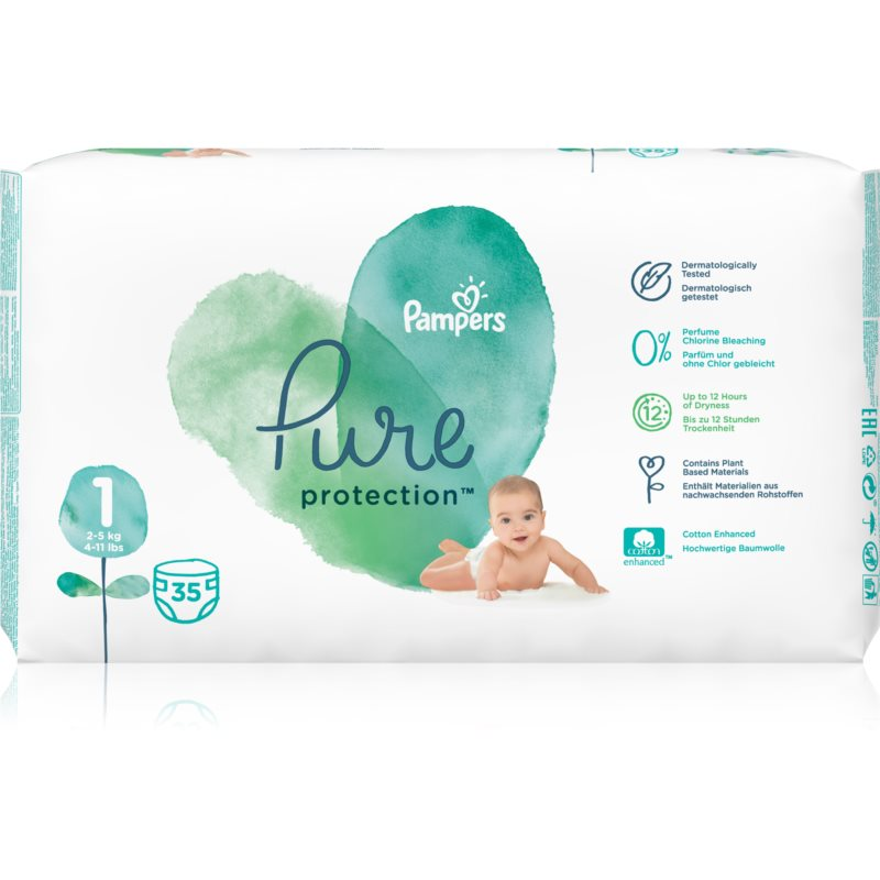 Pampers Pure Protection Size 1 plienky (2-5 kg) 35 ks