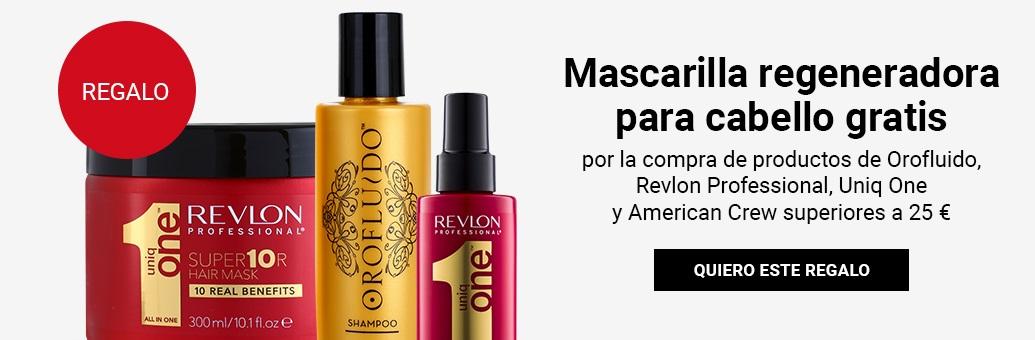 Mascarilla regeneradora para cabello gratis por la compra de productos de Orofluido, Revlon, Uniq One y American Crew superiores a 25 €