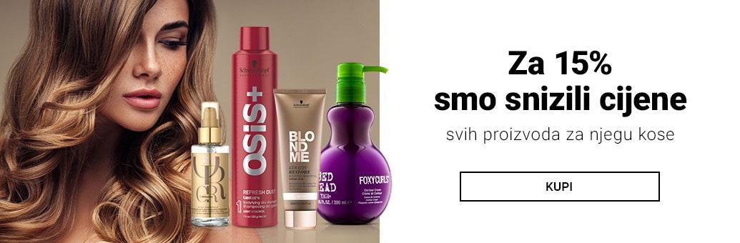 15% popusta na sve proizvode za njegu kose