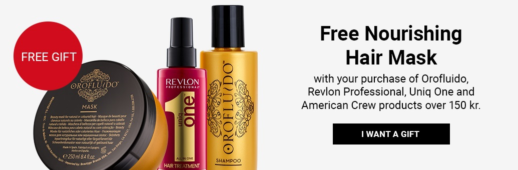 Free Nourishing Hair Mask with your purchase of Orofluido, Revlon, Uniq One a American Crew over 150 kr.