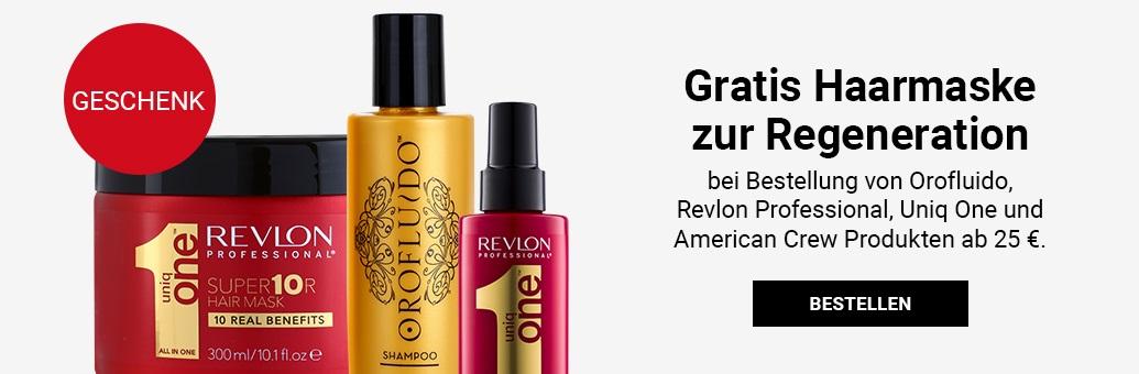 Gratis Haarmaske zur Regeneration bei Bestellung von Orofluido, Revlon, Uniq One und American Crew Produkten ab 25 €.