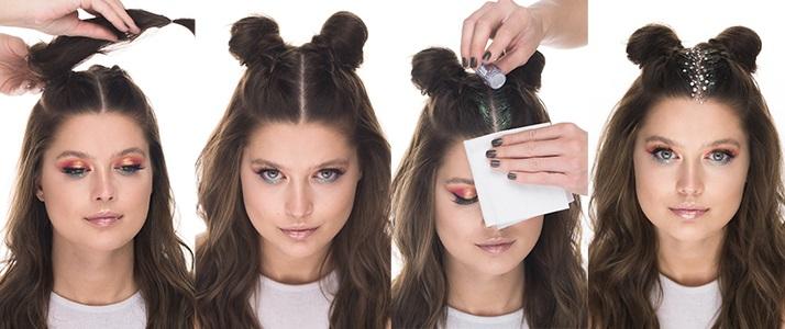 Look da festival capelli glitter notino