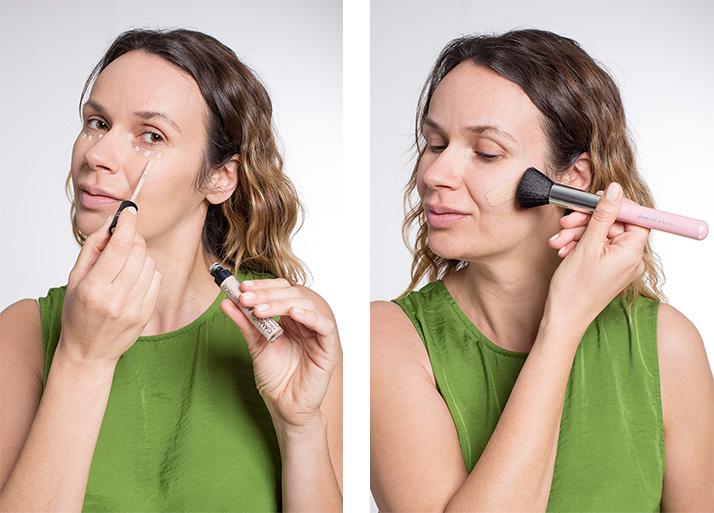 Maquillage vert teint