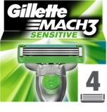 Gillette Mach 3 Sensitive zapasowe ostrza 4 szt.