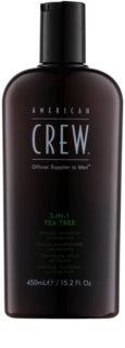 American Crew Tea Tree sampon, balsam si gel de dus 3in1 pentru barbati