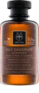 Apivita Holistic Hair Care White Willow & Propolis sampon anti-matreata pentru par gras