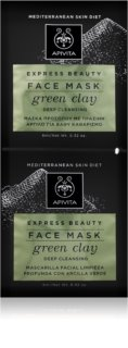 Apivita Express Beauty Green Clay máscara facial de limpeza profunda para pele radiante