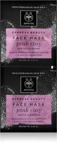 Apivita Express Beauty Pink Clay sanfte Reinigungsmaske für das Gesicht für augenblickliche Aufhellung
