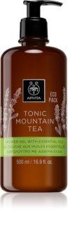 Apivita Tonic Mountain Tea sanftes Duschgel mit ätherischen Öl