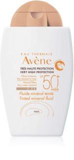 Avène Sun Mineral zaščitni toniran fluid brez kemičnih filtrov SPF50+