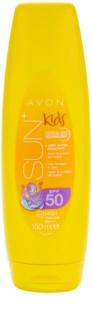 Avon Sun Kids niezwykle wodoodporne, pomarańczowe mleczko do opalania SPF 50