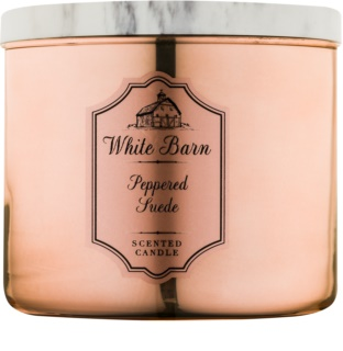 Bath & Body Works White Barn Peppered Suede vonná svíčka 411 g