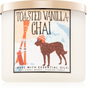 Bath & Body Works Toasted Vanilla Chai vonná sviečka Vôňa do bytu 411 g