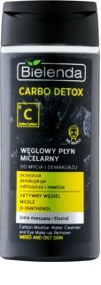 Bielenda Carbo Detox Active Carbon μικυλλιακό καθαριστικό νερό με ενεργό άνθρακα για πρόσωπο και μάτια για μικτή και λιπαρή επιδερμίδα