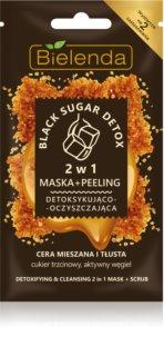 Bielenda Black Sugar Detox Detox-Gesichtsmaske und mikro Peeling 2 in 1