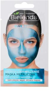 Bielenda Metallic Masks Blue Detox Entgiftende Feuchtigkeitsmaske für trockene bis empfindliche Haut