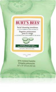 Burt's Bees Cucumber & Sage lingettes nettoyantes et démaquillantes pour peaux normales à sèches