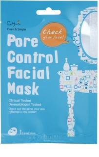 Cettua Clean & Simple plátenná maska pre stiahnutie pórov a matný vzhľad pleti