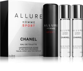 Chanel Allure Homme Sport eau de toilette (1x vap.recarregável + 2 x recarga) para homens