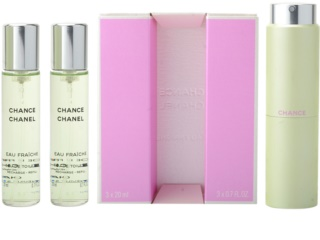 Chanel Chance Eau Fraîche eau de toilette (1x vap.recarregável + 2 x recarga) para mulheres 3x20 ml