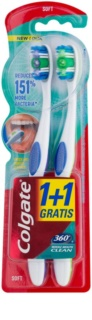 Colgate 360°  Whole Mouth Clean escova de dentes suave 2 pçs