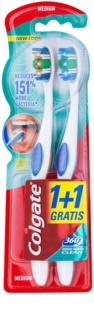 Colgate 360°  Whole Mouth Clean cepillo de dientes medio 2 uds