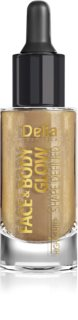 Delia Cosmetics Face & Body Glow Shape Defined Liquid Highlighter with Pipette Stopper