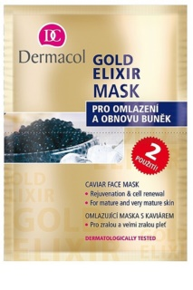 Dermacol Gold Elixir pleťová maska skaviárom