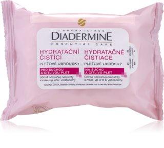Diadermine Essentials toallitas  limpiadoras faciales para pieles sensibles y secas