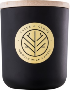 DW Home Black Suede & Clove dišeča sveča  320,35 g z lesenim stenjem