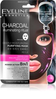 Eveline Cosmetics Charcoal Illuminating Ritual máscara têxtil para uma hidratação e limpeza perfeitas
