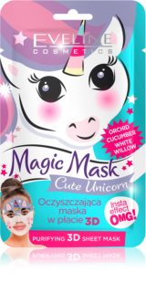 Eveline Cosmetics Magic Mask Cute Unicorn masque en tissu purifiant 3D