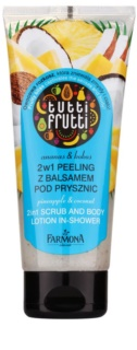 Farmona Tutti Frutti Pineapple & Coconut Shower Body Scrub and Lotion 2 In 1