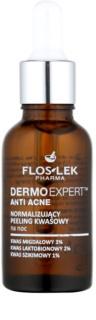 FlosLek Pharma DermoExpert Acid Peel нормализираща нощна грижа за кожа с несъвършенства