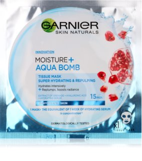 Garnier Skin Naturals Moisture+Aqua Bomb Super Hydrating Plumping Sheet Mask for Face